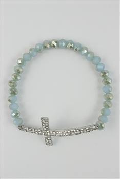 Crystal Accent Cross BRACELET B1213-Light-blue