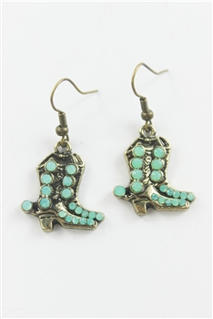 Crystal Accent BOOTS Drop Earrings E1443