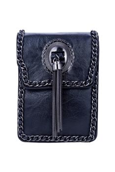 Fashion Leatherette Metal Tassel HANDBAGs HB0641 - Black