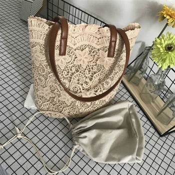 Embroidery Lace Leatherette Totes HANDBAGs HB0708 - Beige
