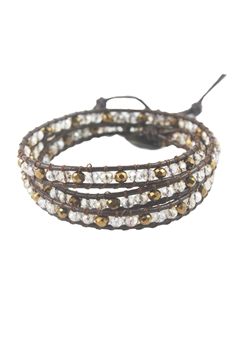 Crystal Beaded Multi Layer LEATHER Rope Bracelets B1917 - Champagne