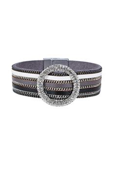 Fashion Style Rhinestone Magnetic Clasp LEATHER Bracelets B1930 - Black