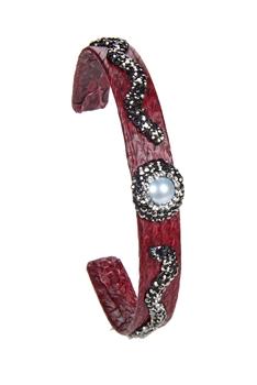 新款时尚蛇皮皮革水晶手链B红色